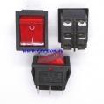 KCD4 выключатель одноклавишный с подсветкой для сетевых фильтров (цвет корпуса-черный, цвет клавиши-красный) 16А 250В