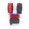 HD-10A выключатель трехпозиционный (0-I-II) для фенов (цвет корпуса-черный, цвет клавиши-красный) 10А 250В
