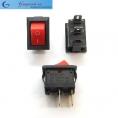 KCD01-11 миниатюрный (15х10мм) выключатель для настольных ламп, компьютерных колонок и др. (цвет корпуса-черный, цвет клавиши- к