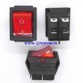KCD2-201N выключатель одноклавишный с подсветкой для сетевых фильтров (цвет корпуса-черный, цвет клавиши-красный) 16А 250В