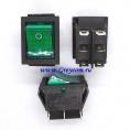 KCD2-202N выключатель одноклавишный с подсветкой для сетевых фильтров (цвет корпуса-черный, цвет клавиши-зеленый) 16А 250В