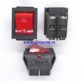 KCD2-202N выключатель одноклавишный с подсветкой для сетевых фильтров (цвет корпуса-черный, цвет клавиши-красный) 16А 250В