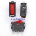 KCD3 (T105) выключатель одноклавишный с подсветкой для мультиварок, рисоварок и др. (цвет корпуса-черный, цвет клавиши-красный)
