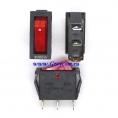 KCD3 выключатель одноклавишный с подсветкой для мультиварок, рисоварок и др. (цвет корпуса-черный, цвет клавиши-красный) 16А 250