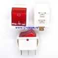 KCD4 выключатель одноклавишный с подсветкой для сетевых фильтров (цвет корпуса-белый, цвет клавиши-красный) 15А 250В